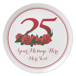Custom text 25th birthday anniversary 25 plate