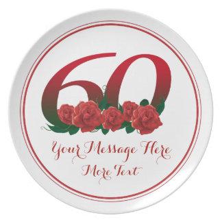 Custom text 60th birthday anniversary 60 plate