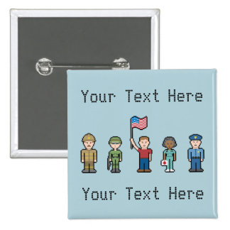 Custom Text American Heroes 15 Cm Square Badge
