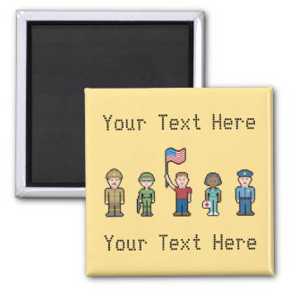 Custom Text American Heroes Square Magnet