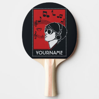 Custom Text Art Deco Music ping pong paddle