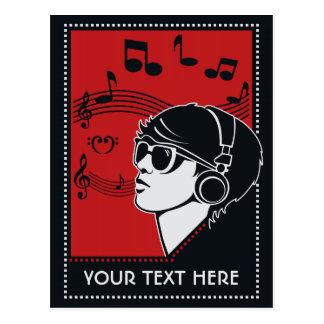 Custom Text Art Deco Music postcard