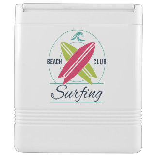 Custom Text Beach Club Surfing cooler