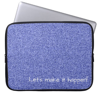 Custom text blue faux glitter laptop sleeve