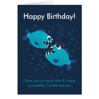 Custom Text Blue Piranha Fish Love Birthday Card