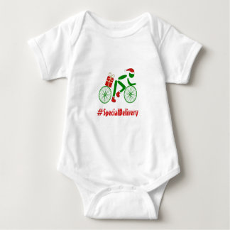 Custom text christmas cyclist delivery baby bodysuit