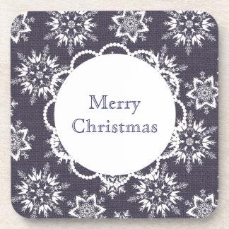Custom Text Christmas Snowflake Coasters