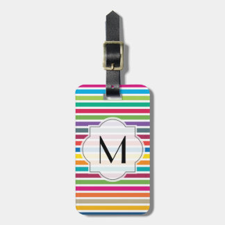 Custom Text - Colorful Candy Stripes Luggage Tag