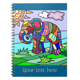 Custom text colorful floclore artistic elephant notebook