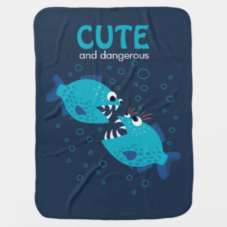 Custom Text Cute And Dangerous Piranha Fish Baby Blanket