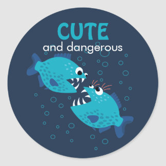 Custom Text Cute And Dangerous Piranha Fish Classic Round Sticker