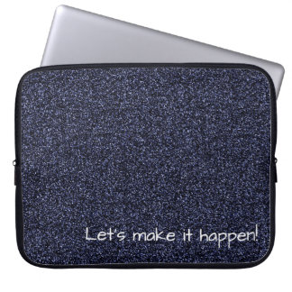 Custom text dark blue faux glitter laptop sleeve