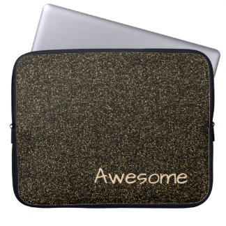 Custom text dark gold faux glitter laptop sleeve