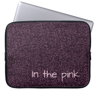 Custom text dark pink faux glitter laptop sleeve