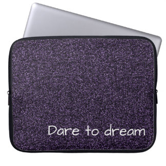 Custom text dark purple faux glitter laptop sleeve