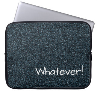 Custom text dark teal faux glitter laptop sleeve