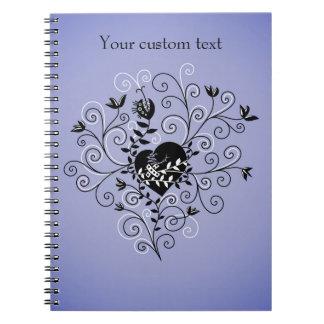 Custom Text Dark Whimsical Fixed Broken Heart Notebooks