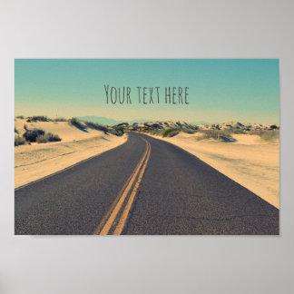 Custom text desert road poster