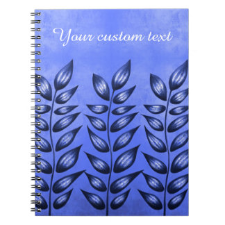 Custom Text Elegant Blue Plant With Pointy Leaves Notebook