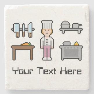 Custom Text Female Chef Stone Beverage Coaster