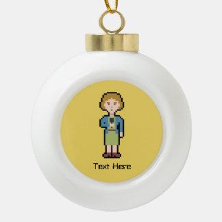 Custom Text Female Reporter Ceramic Ball Christmas Ornament