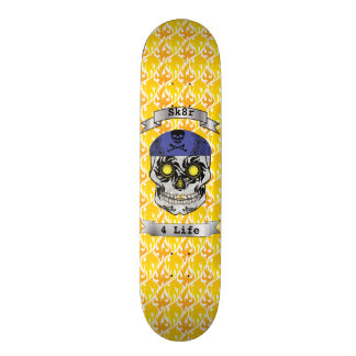 Custom Text Flames Motorcycle Candy Skull Deck Skate Board Decks