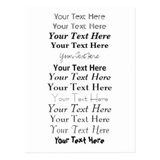 Custom Text. Fonts Postcard no. 2. Your Text Here.