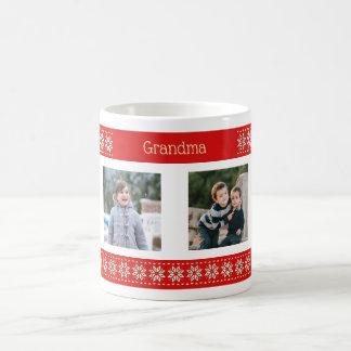Custom text four photos christmas pattern coffee mug