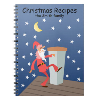 Custom Text Funny Santa on Roof Notebook