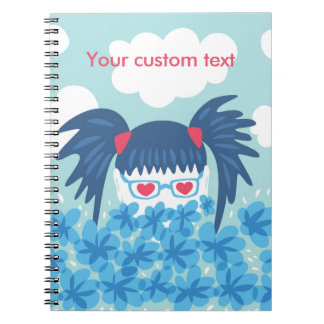 Custom Text Geek Girl With Blue Hair And Flowers Notebook