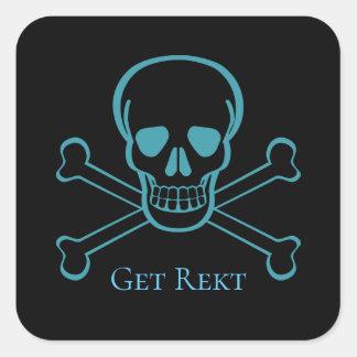 Custom Text Get Rekt Gamer Skull/Bones Sticker