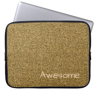 Custom text gold faux glitter laptop sleeve