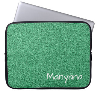 Custom text green faux glitter laptop sleeve