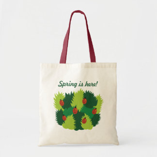 Custom Text Green Leaves Ladybugs Spring Is Here Tote Bag