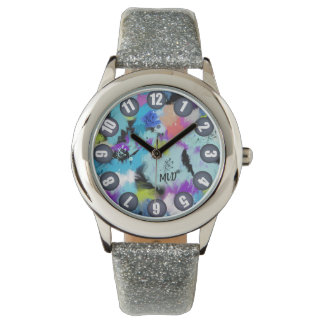 (Custom Text) Hues Of Bright Abstract Watercolor Watch