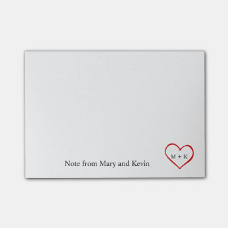 Custom Text Monogram Red Heart for Wedding Couple Post-it® Notes