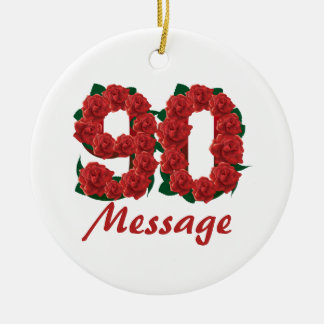 Custom text name 90th birthday number ceramic ornament