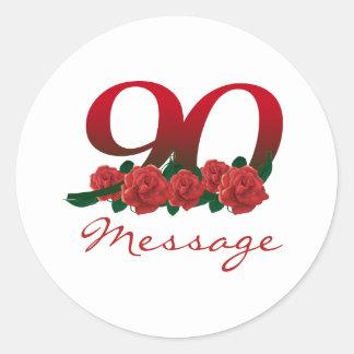 Custom text name 90th birthday number round sticker
