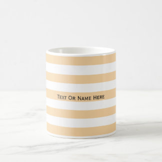 Custom Text Name Champagne Pink & White Stripes. Coffee Mug