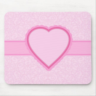 custom text/name pink heart mouse pad