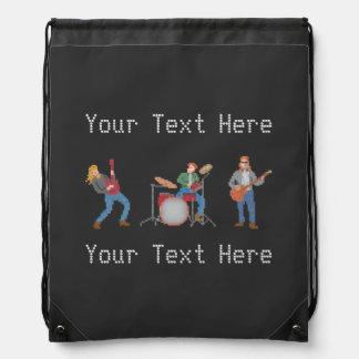 Custom Text Old School Rock Drawstring Backpack