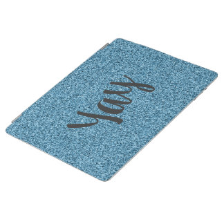 Custom text on faux glitter iPad smart cover