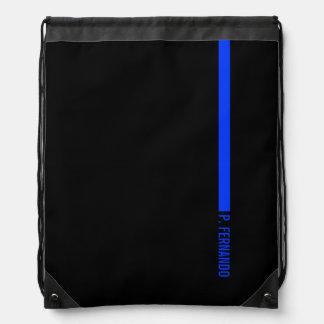 Custom Text on The Thin Blue Line Police Drawstring Bag