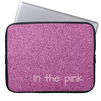 Custom text pink faux glitter laptop sleeve