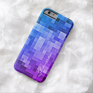 Custom Text Purple & Blue Pixels iPhone 6 case