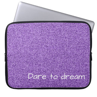 Custom text purple faux glitter laptop sleeve