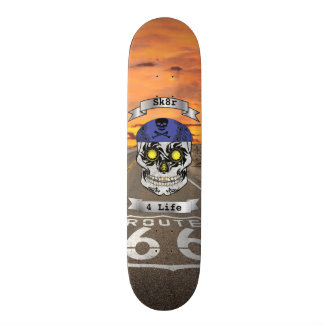 Custom Text Route 66 Motorcycle Candy Skull Deck Skateboard Decks
