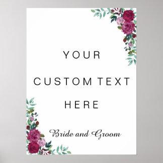 Custom text sign   watercolor roses