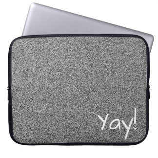 Custom text silver grey faux glitter laptop sleeve