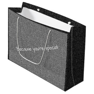 Custom text silver grey faux glitter large gift bag